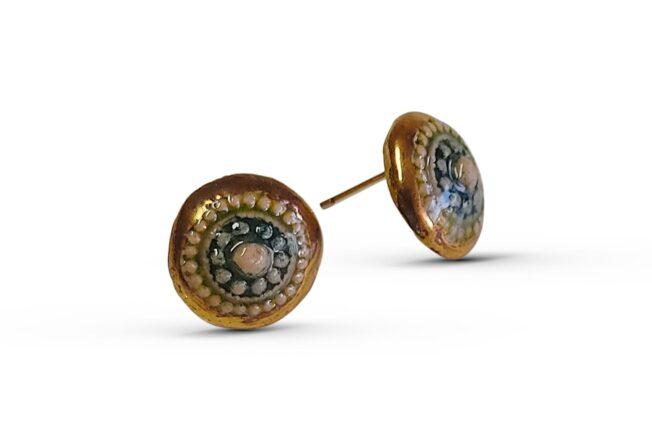 גולדפילד עגילים צמודים עבודת יד ייחודי זהב 14 קארט