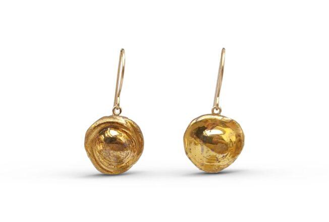 גולדפילד עגילים תלויים עבודת יד ייחודי זהב 14 קארט